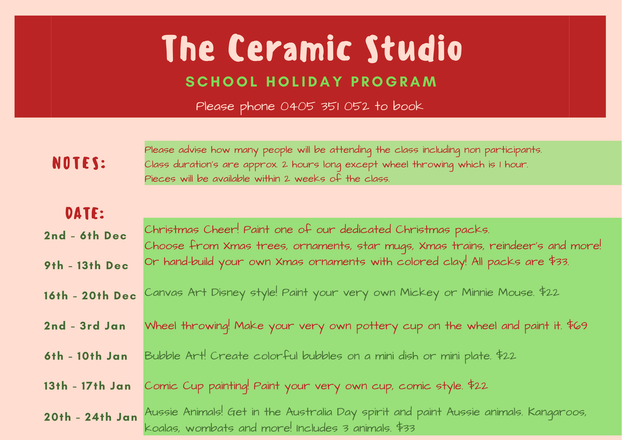 Holiday program 2019 | The Ceramic Studio